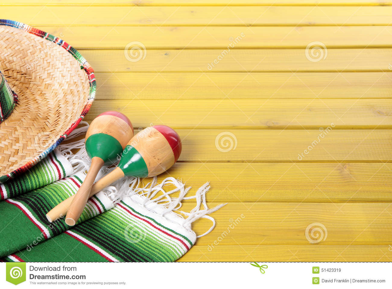 mexican background copyspace sombrero maracas traditional serape blanket laid yellow painted pine wood floor space 51423319 Top Result 60 Inspirational Mexican themed Powerpoint Template