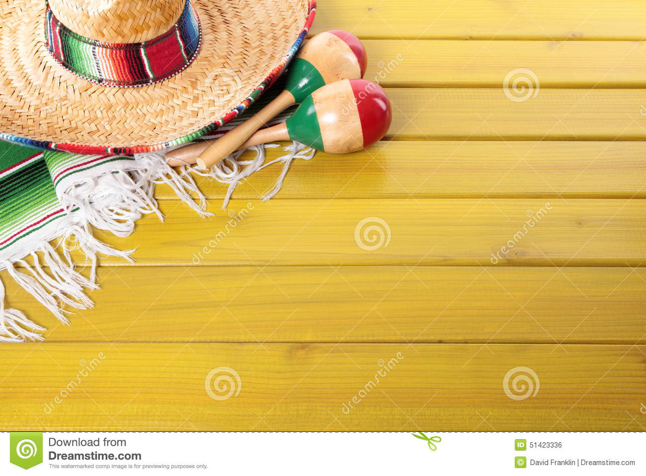 Mexico, Mexican fiesta background sombrero maracas wood copy space