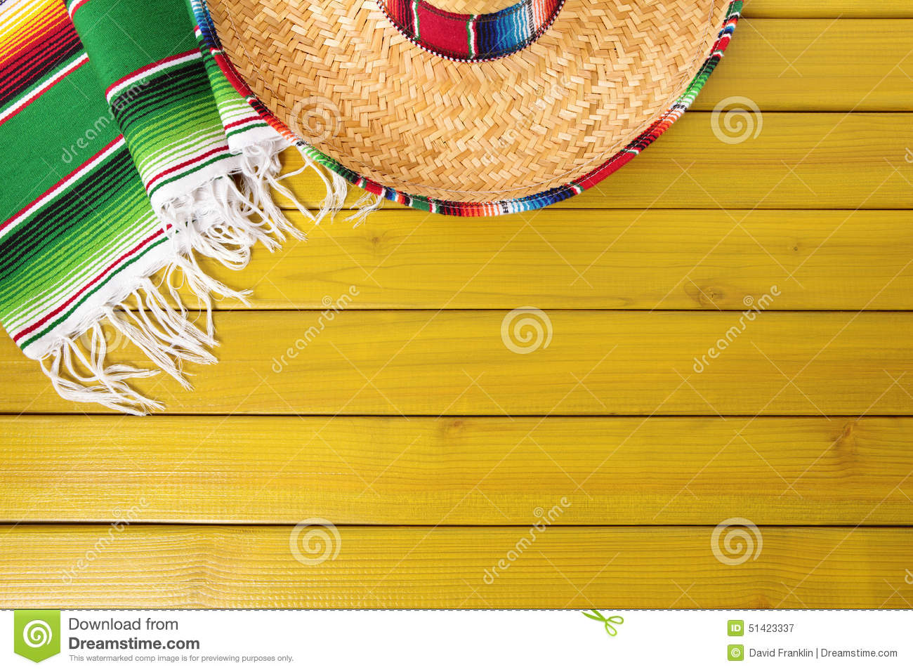 Mexico Mexican Background Sombrero Wood Copy Space Stock