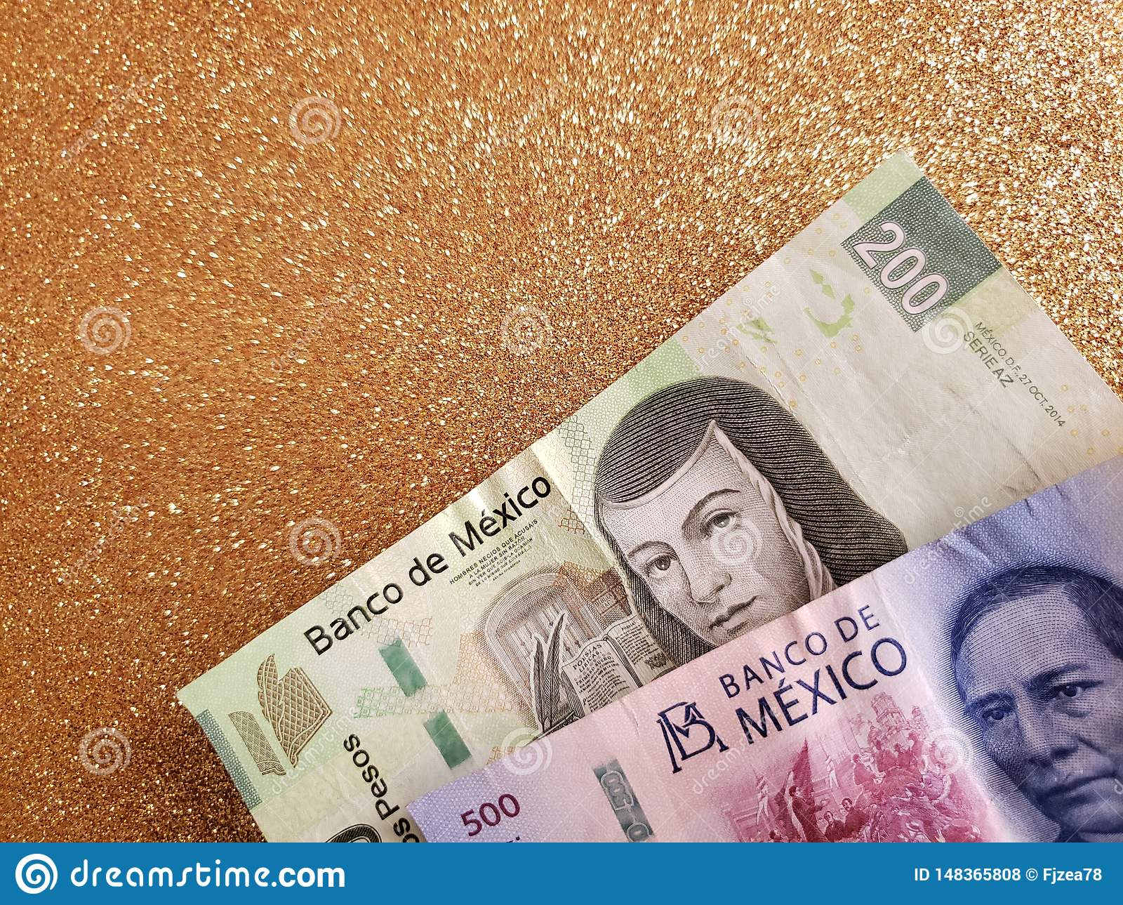 Mexican banknotes and background in metallic gold color