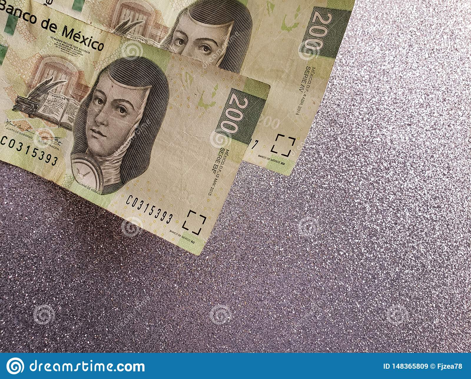 Mexican banknotes and background in metallic silver color