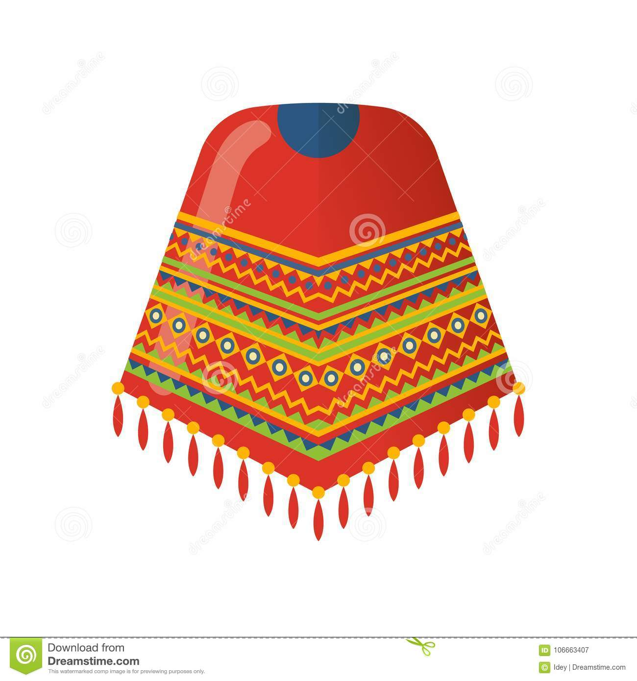 Mexican Beautiful Patterned Cape On The Shoulders Poncho