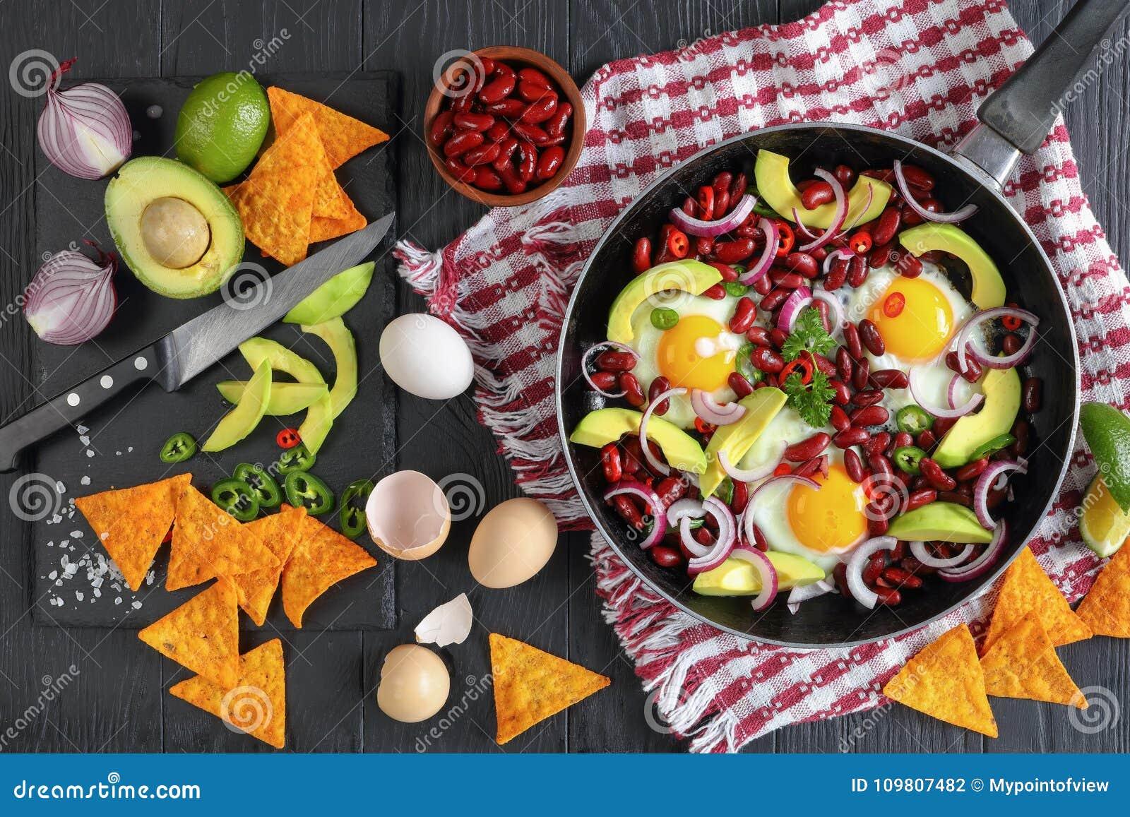 Mexican breakfast - fried eggs in skillet
