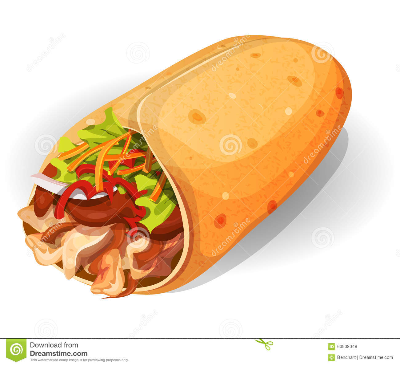 Illustration of an appetizing cartoon fast food mexican burrito icon ...