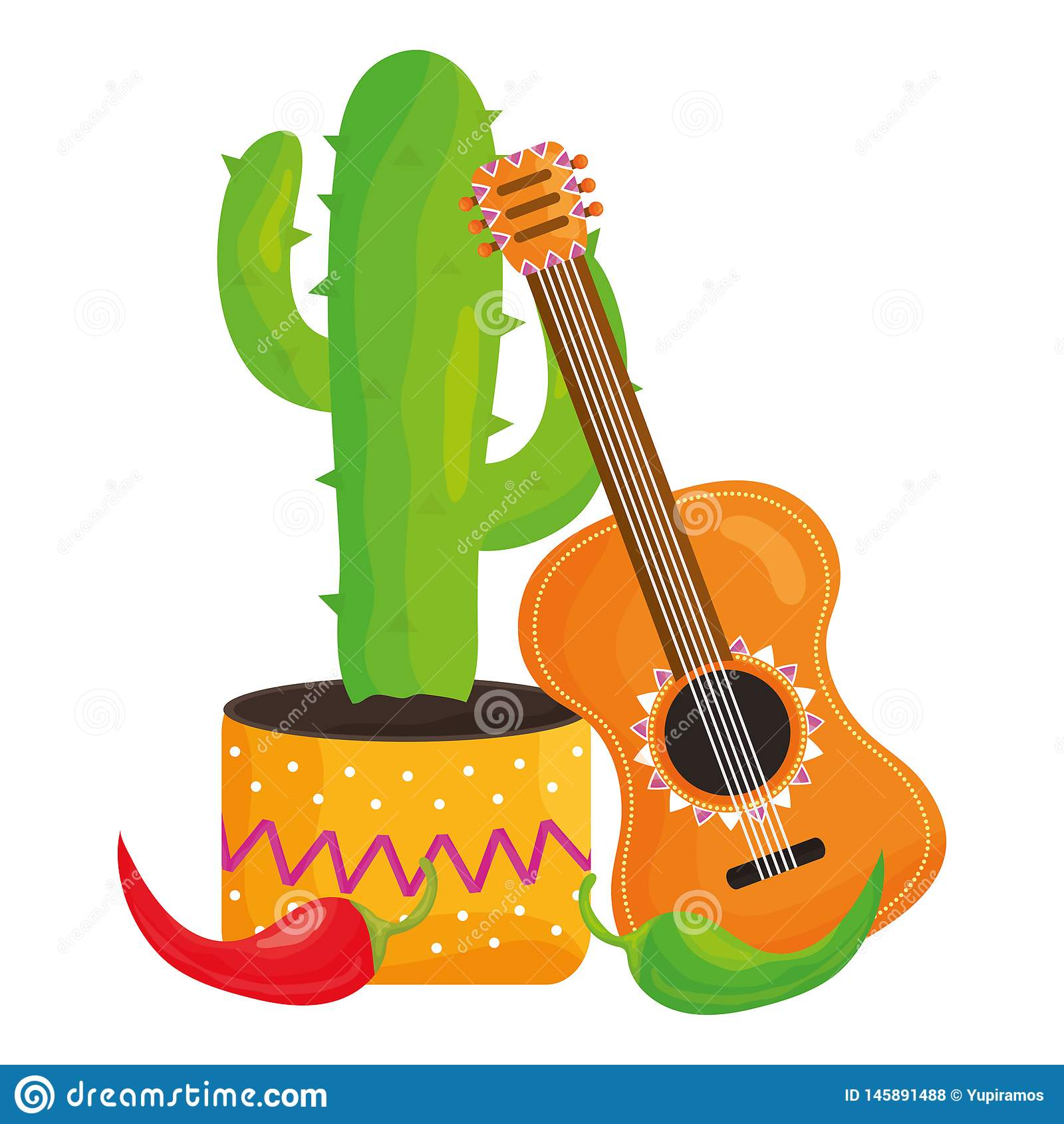 Mexican cactu with guitar and chili pepper. Vector illustration design royalty free stock photos