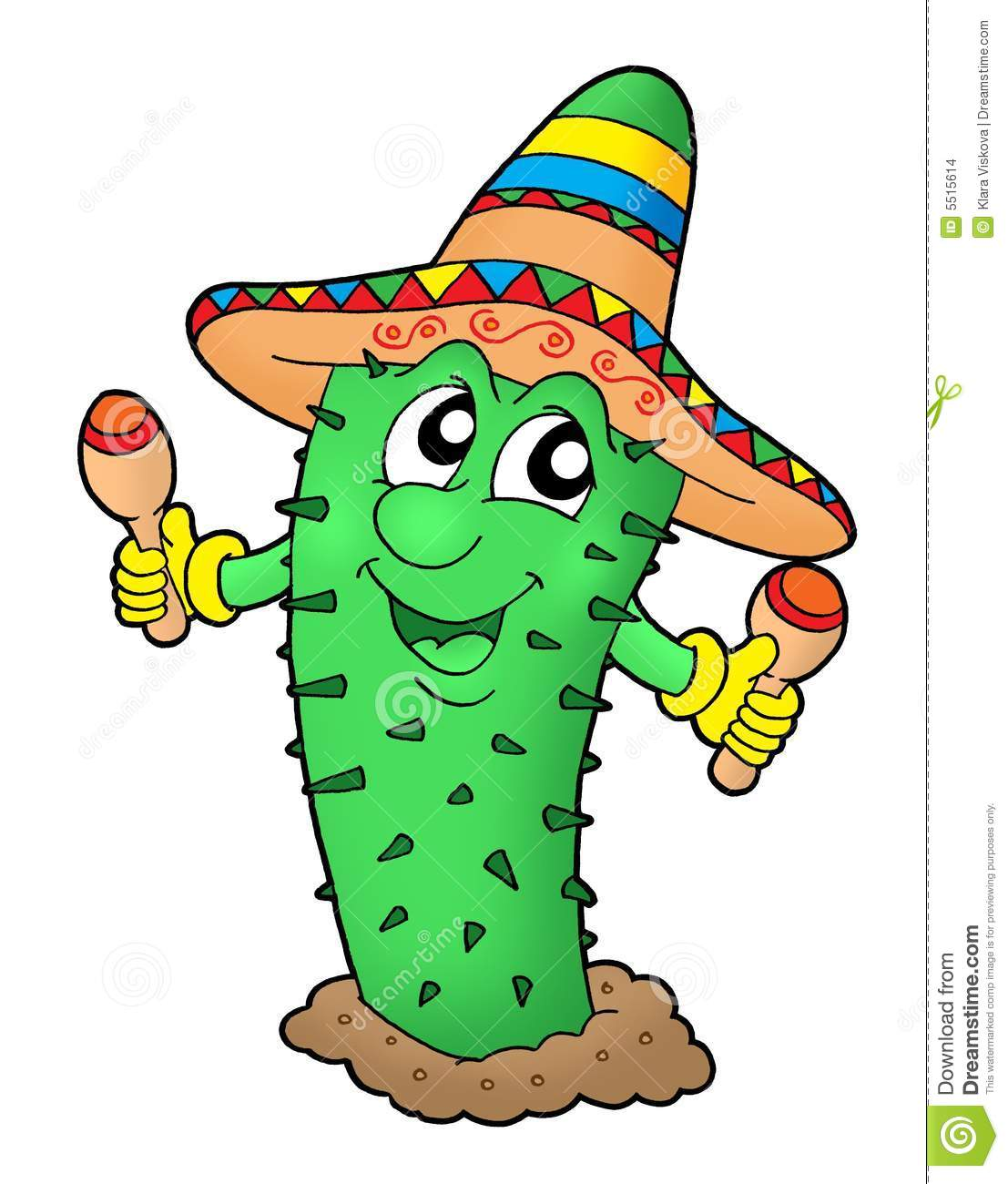 Mexican Cactus With Sombrero Stock Images Image 5515614