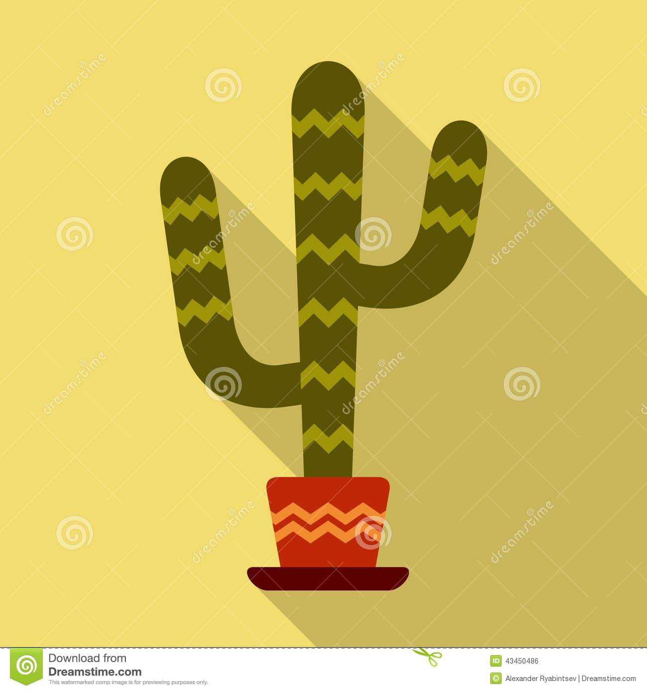 Mexican cactus vector illustration stock vector image for Flat design pictures