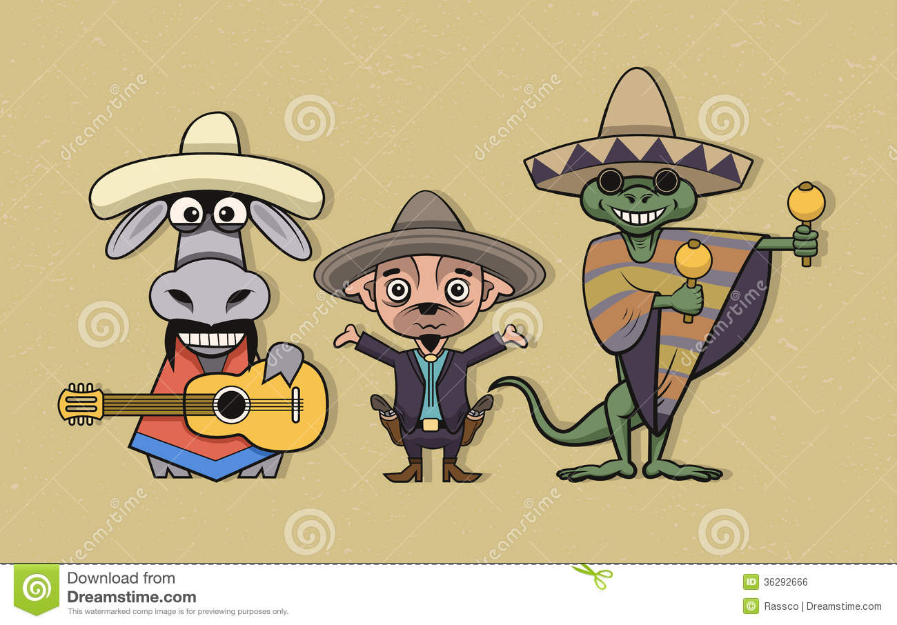 Cartoon Characters Mexican : Mexican cartoon characters royalty free stock image