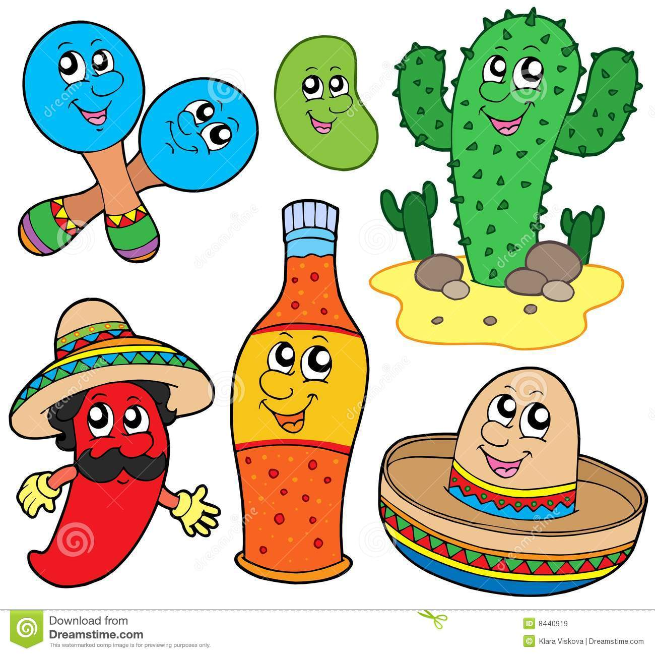 Mexican cartoon collection stock vector. Illustration of ...