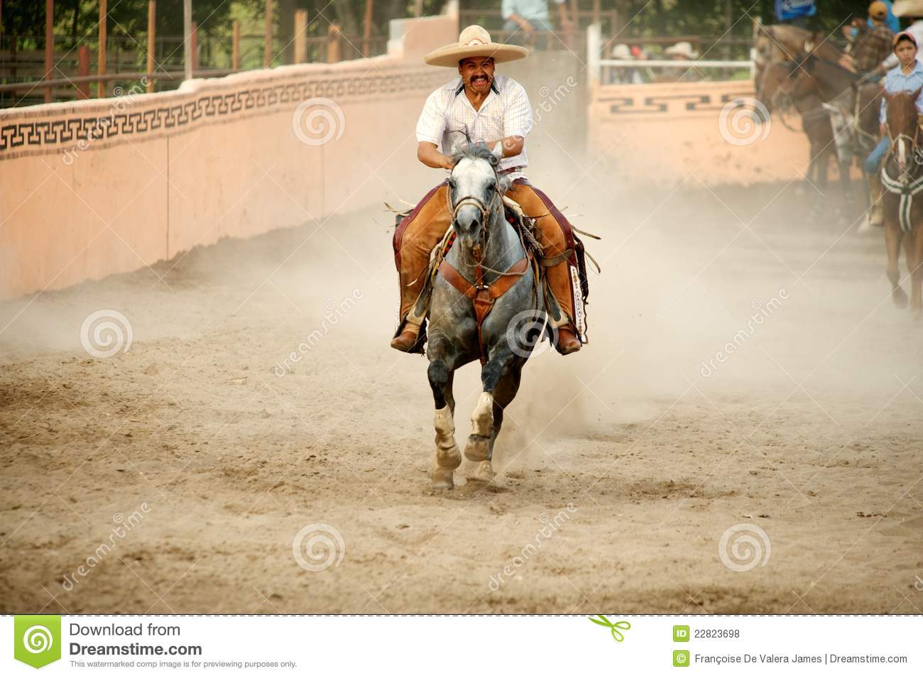 Mexican Charros Horseman Galloping In Ring Tx Us