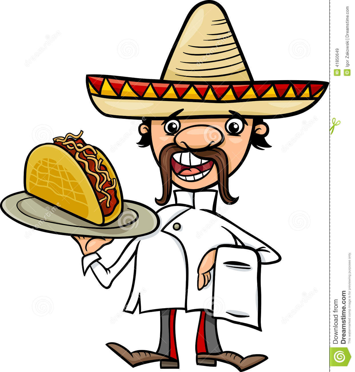 Mexican Chef With Taco Cartoon Illustration Stock Vector - Image ...