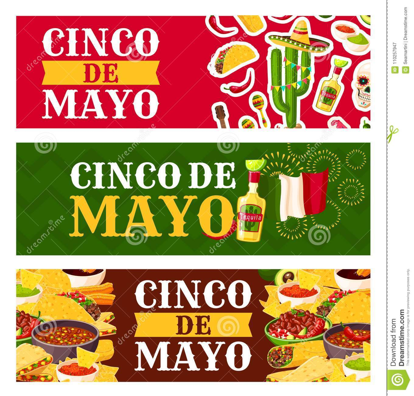 Mexican Cinco De Mayo Holiday Festive Symbols And Fiesta Party Food Greeting Banner Chili Pepper Margarita And Flag Of Mexico Corn Taco