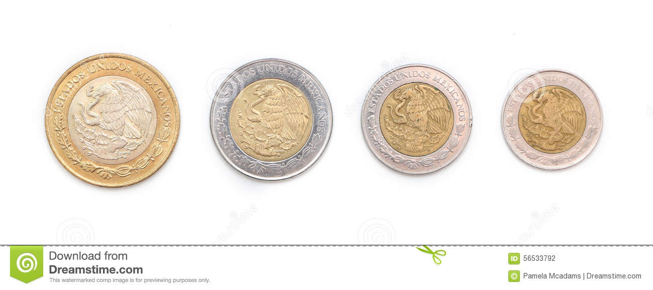 Mexican Coins With A Selective Focus Royalty Free Stock