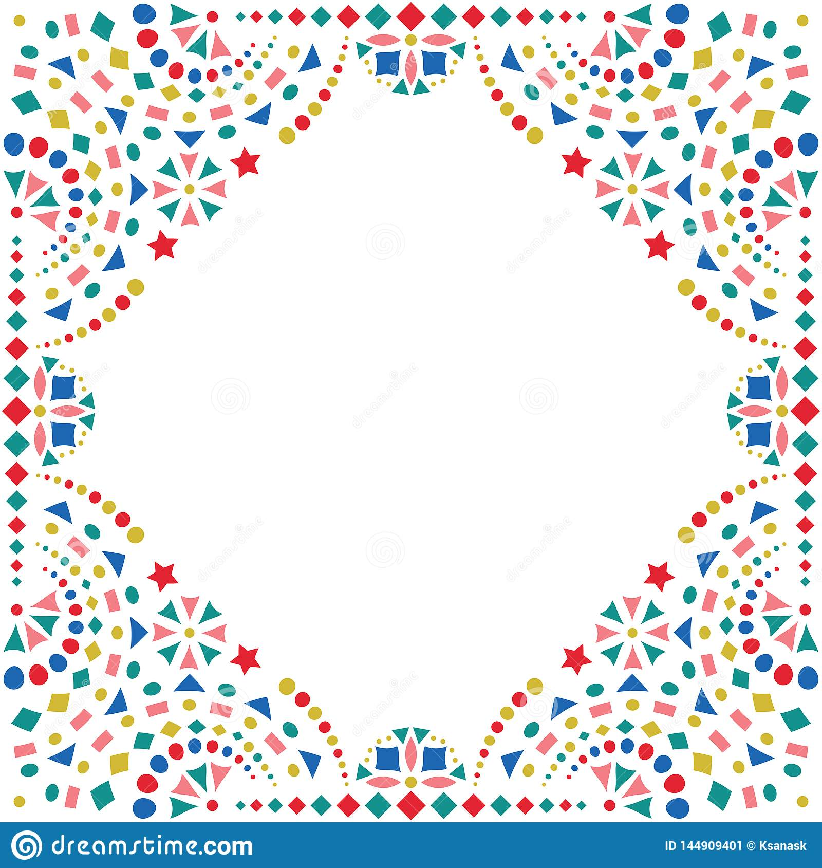 Mexican Colorful Embroidery Motif For Border Stock Vector