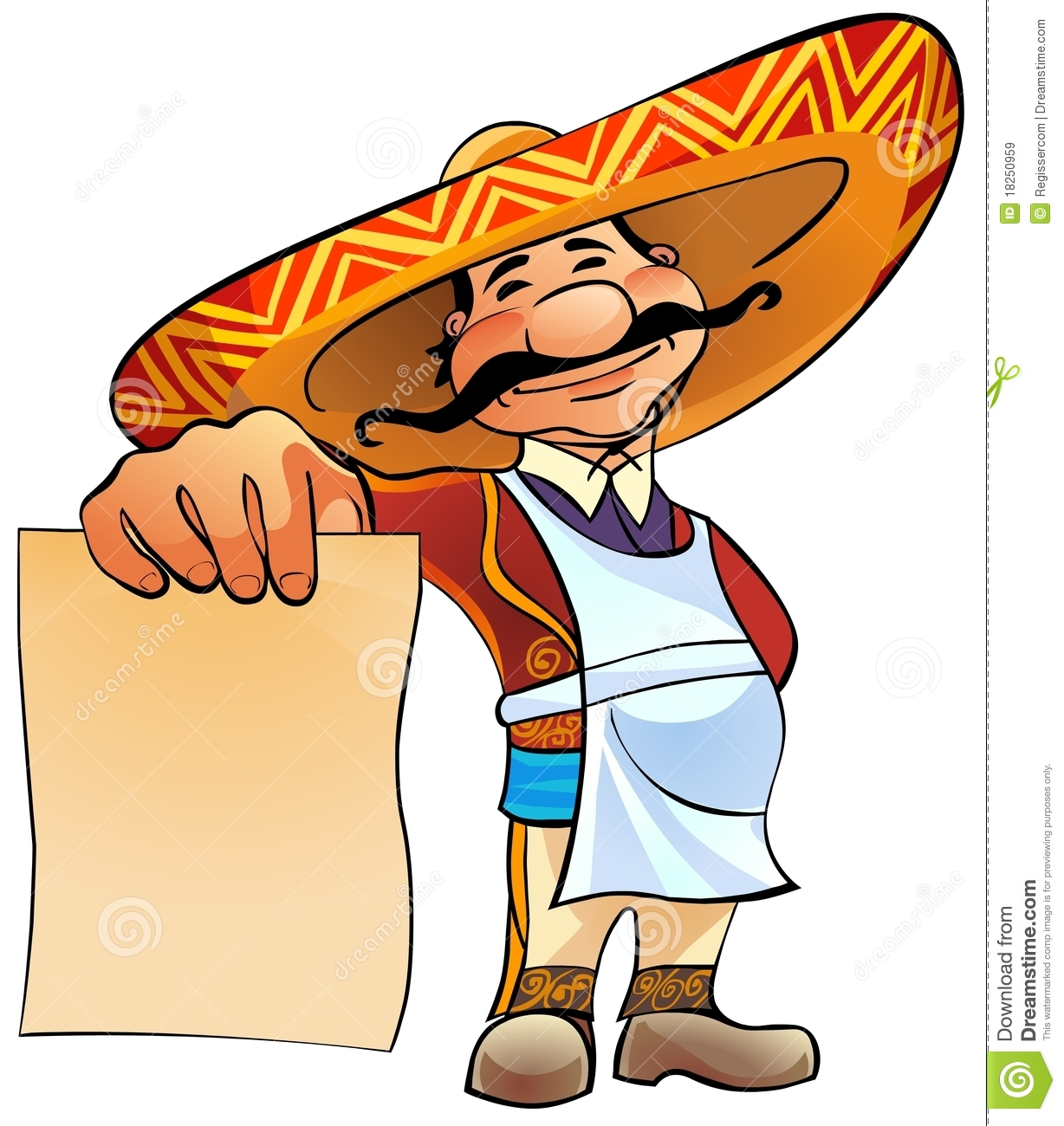 mexican cook with menu stock illustration illustration of creative