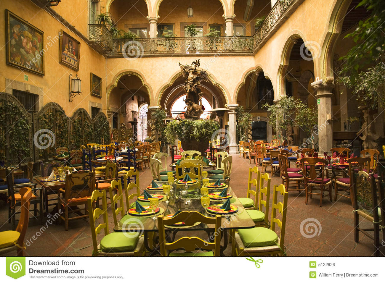Spanish Home Plans With Courtyards Mexican Courtyard Restaurant Queretaro Mexico Royalty Free