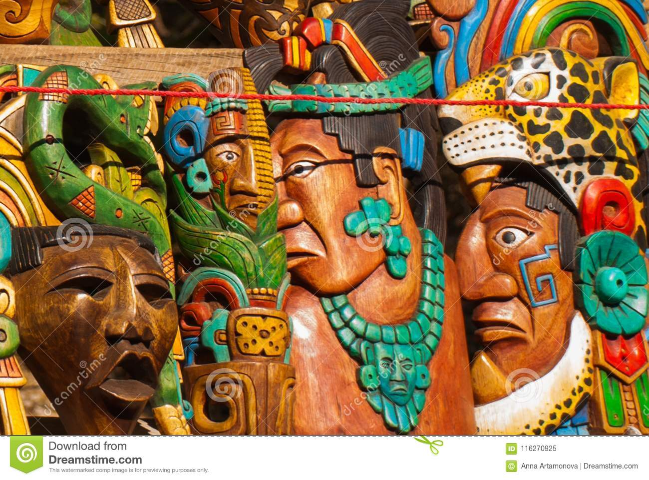 mexican crafts for tourists on the market colorful souvenirs masks