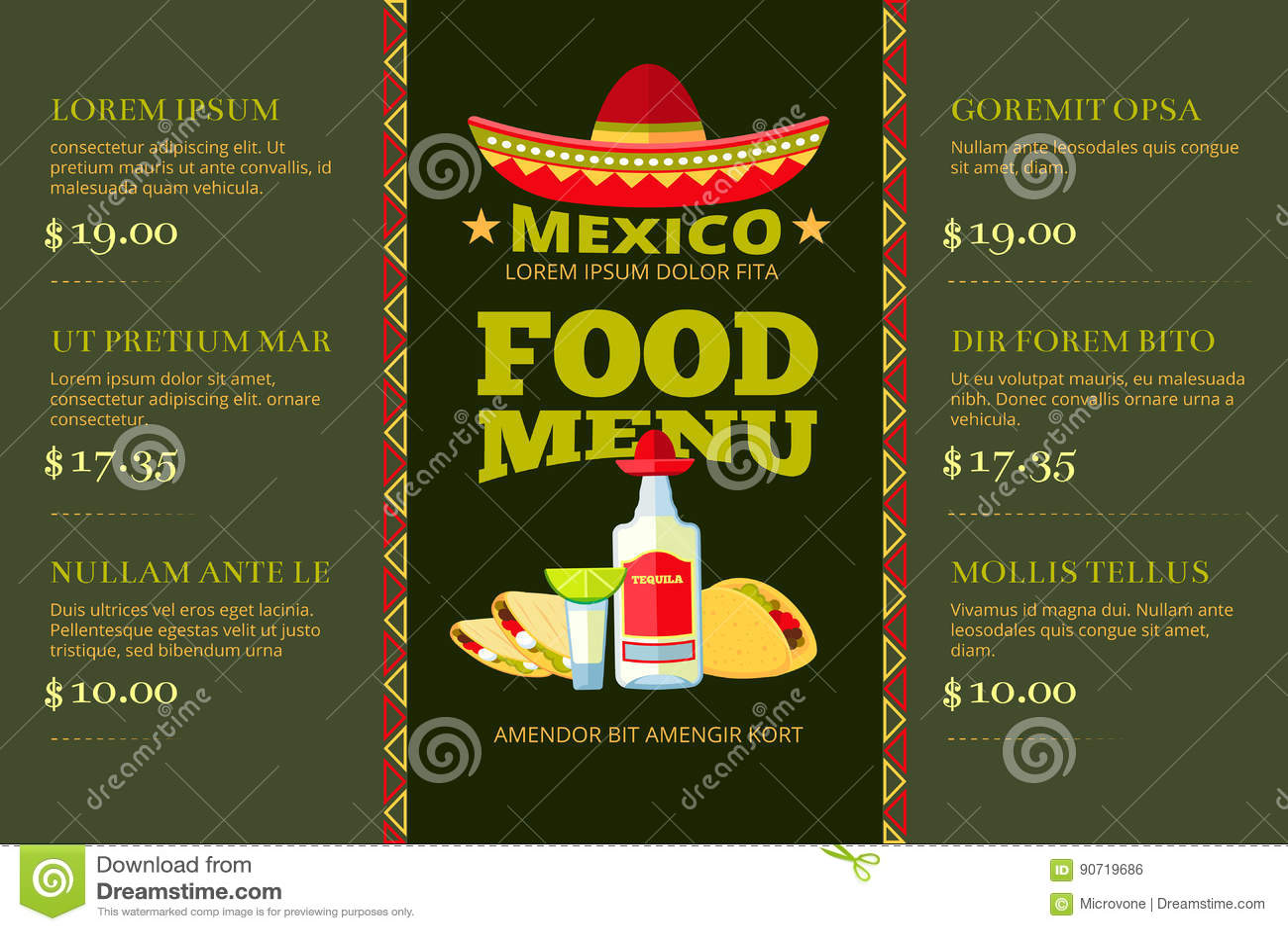 mexican cuisine food restaurant menu vector template stock vector