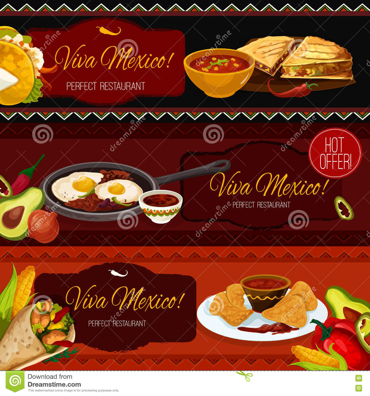 restaurant fresh mexican food menu promo sign in sketch style with