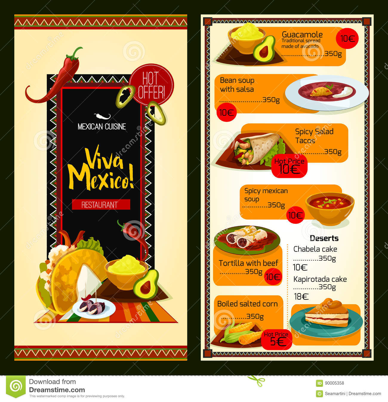mexican cuisine restaurant menu template stock vector illustration