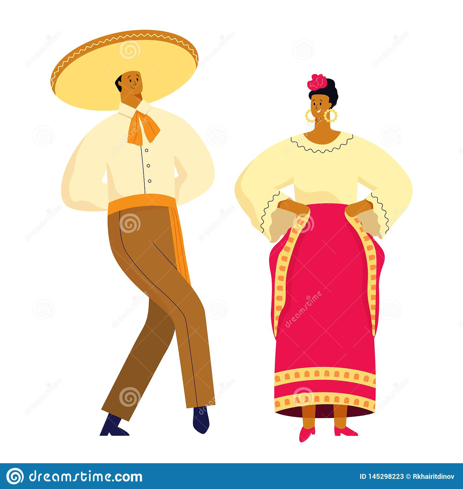 Mexican dancing couple in traditional costumes. Vector illustration flat design.