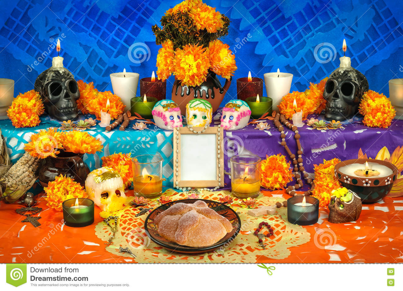 Mexican day of the dead altar Dia de Muertos