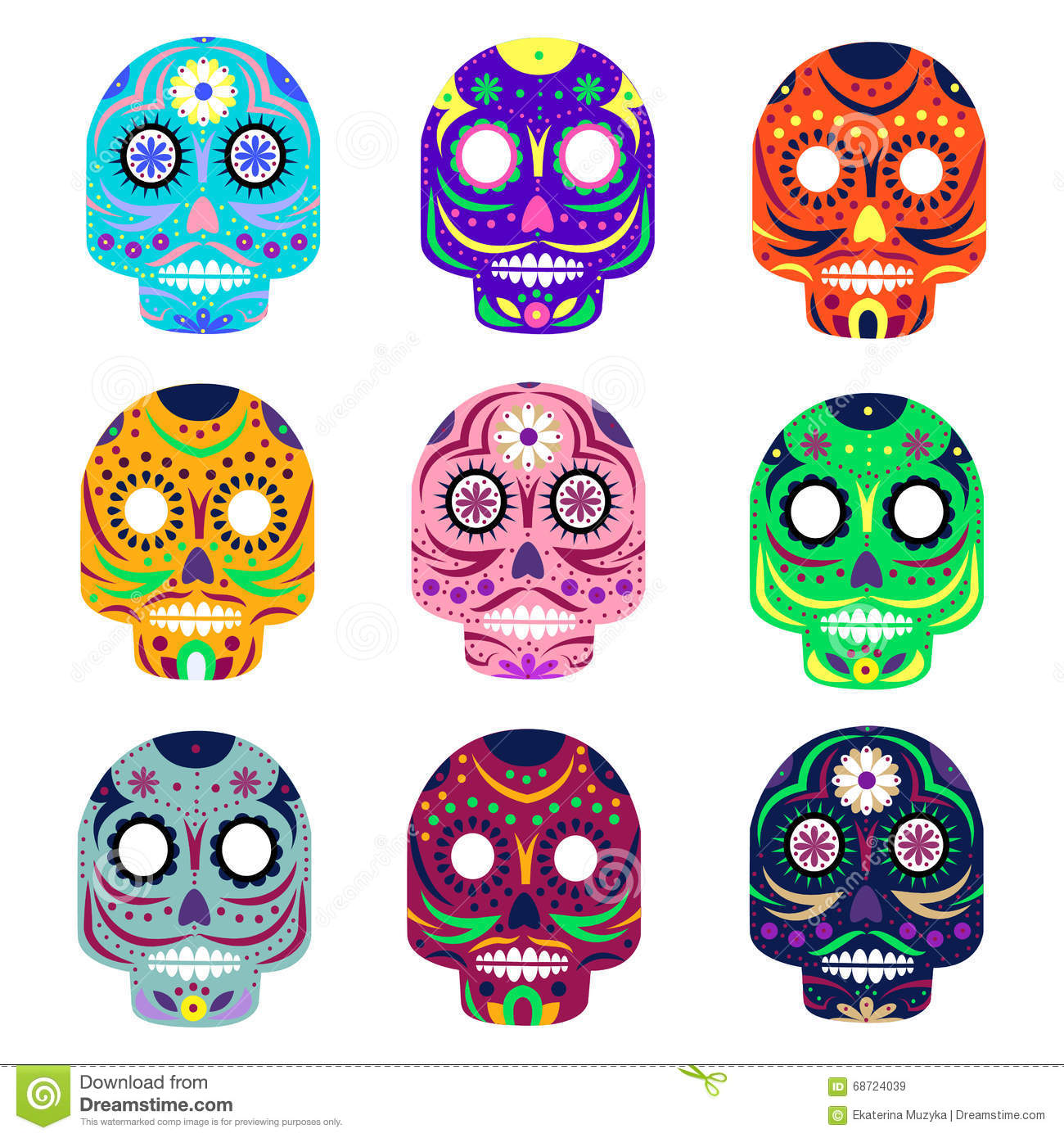 Mexican Day Of The Dead Concept Vector Illustration