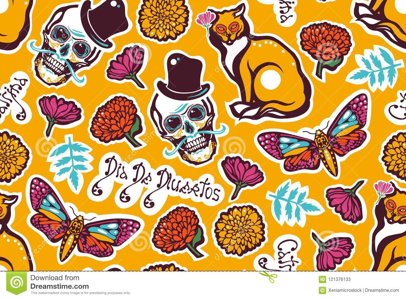 Mexican Day of the Dead. Dia De Los Muertos. Seamless pattern with a human skull in a hat, a cat, a moth Hyles, flowers, marigolds