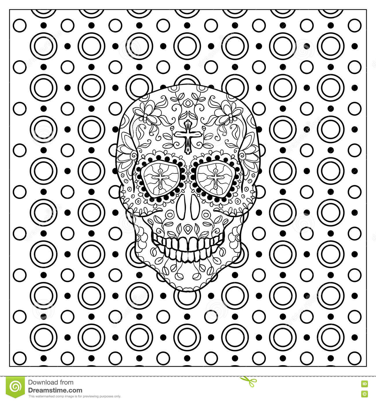 Mexican Day Of The Dead Skull. Stock Vector - Illustration of floral ...