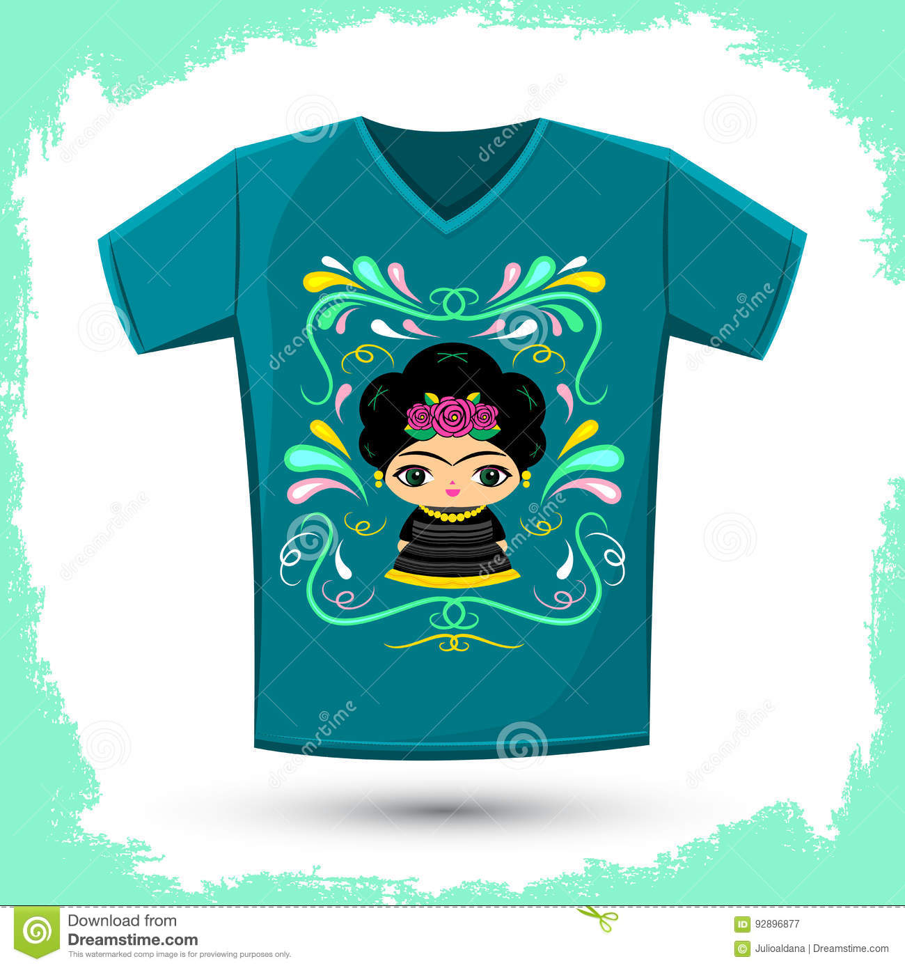 Mexican doll with decorative ornaments t shirt vector for T shirt and hat printing