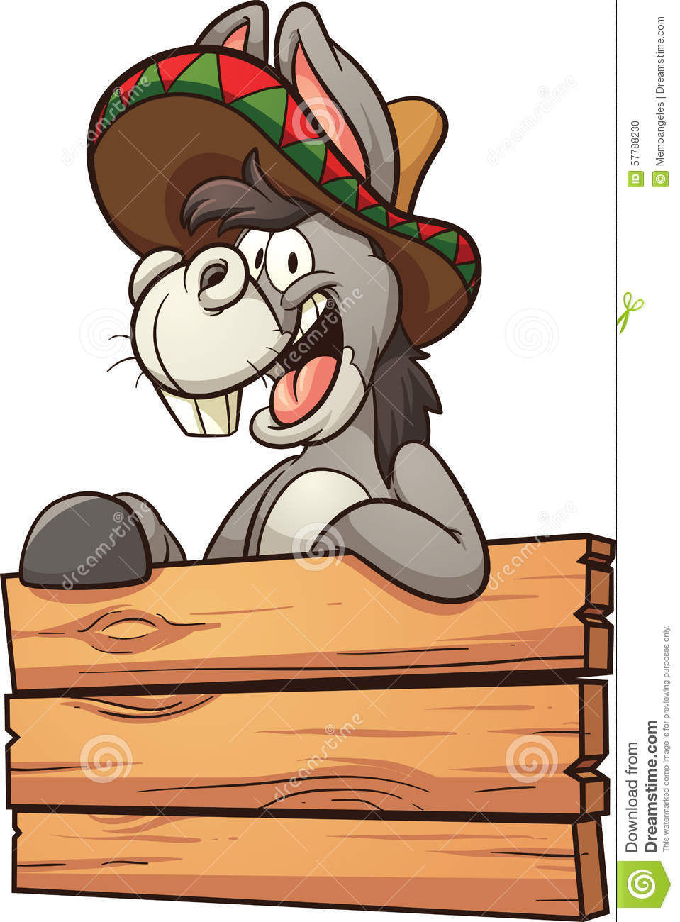 Cartoon Mexican donkey with wooden sign. Vector clip art illustration ...
