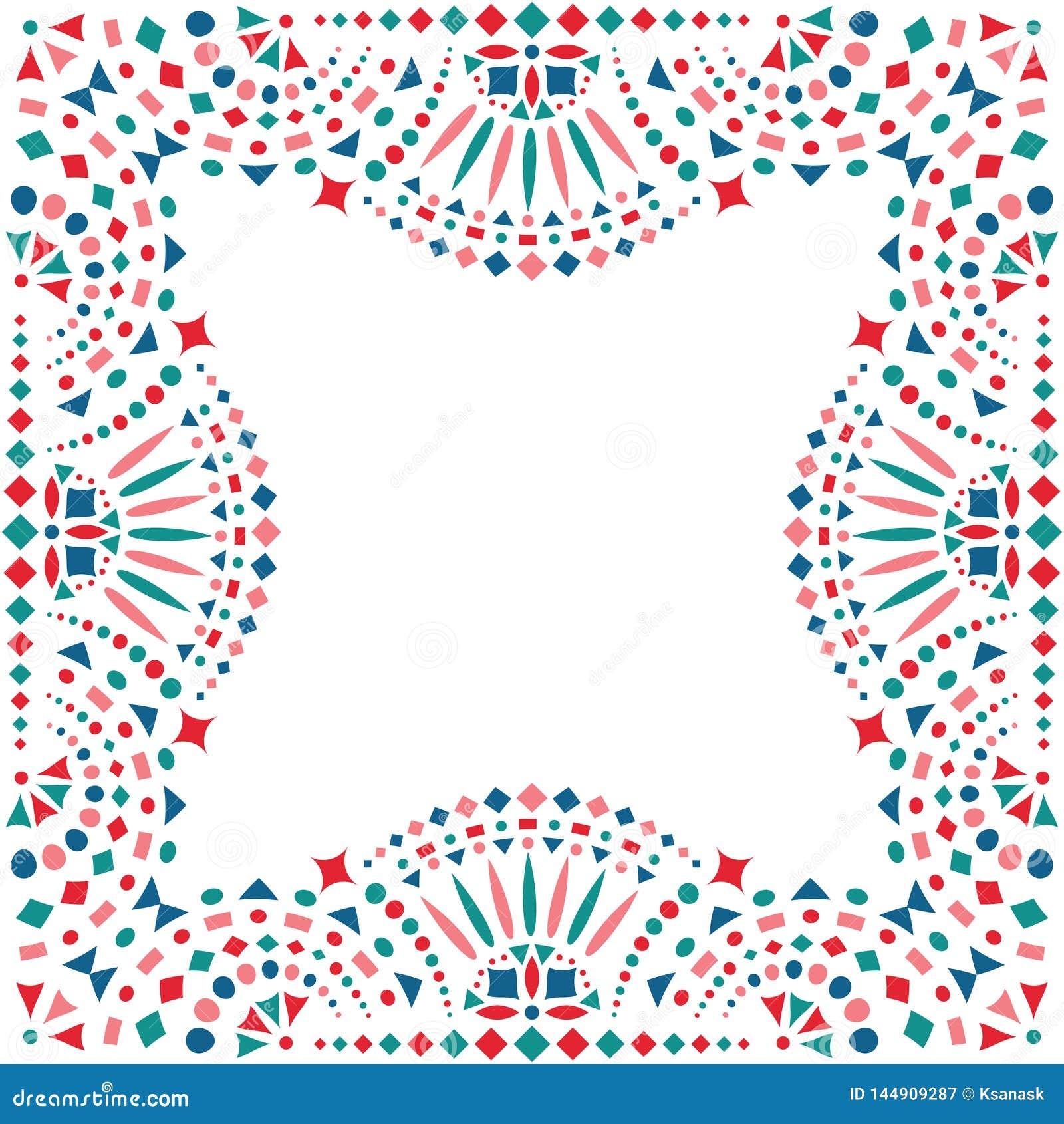 Mexican Embroidery Motif For Border Stock Vector