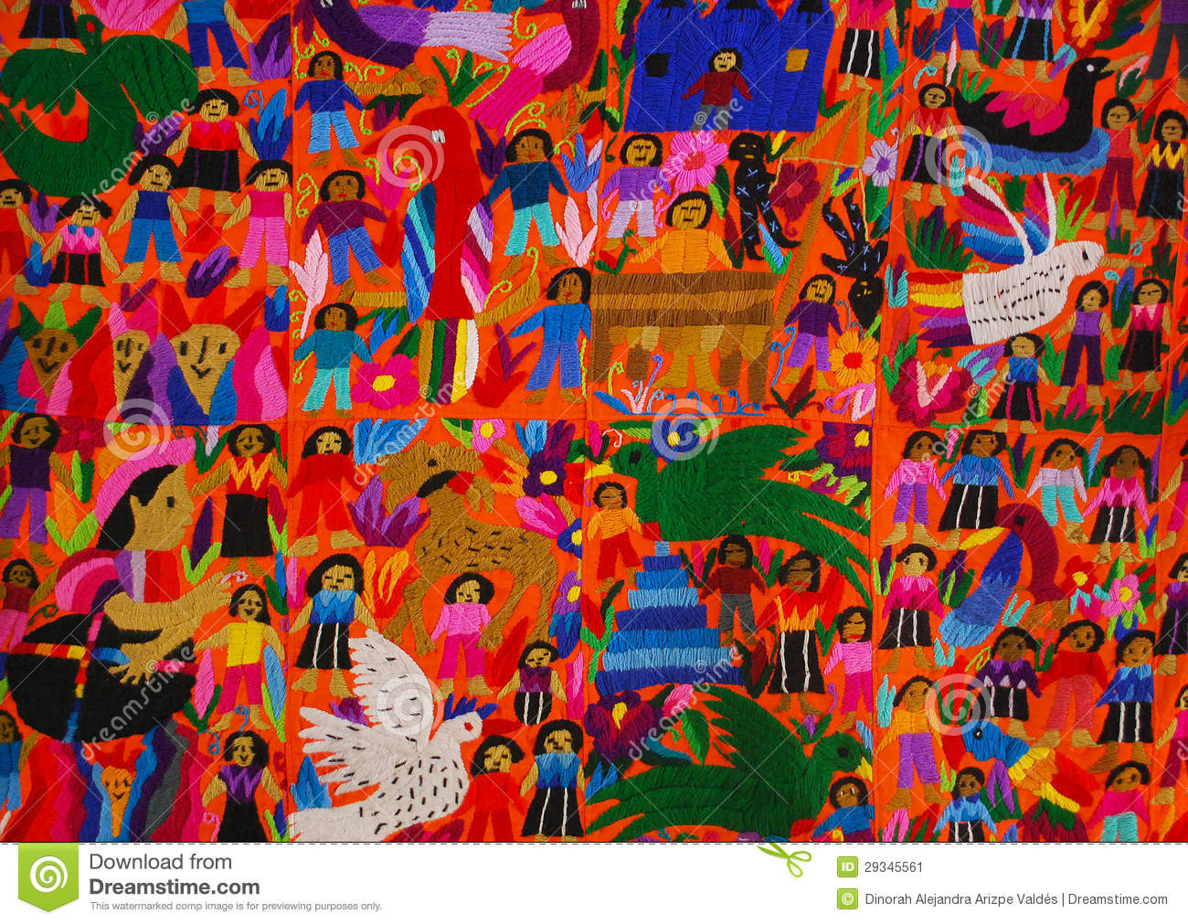 Mexican embroidery panel stock image