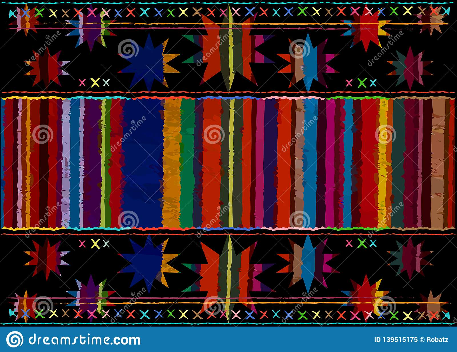 Mexican ethnic embroidery Tribal art ethnic pattern. Colorful Mexican Blanket Stripes Folk abstract geometric repeating background