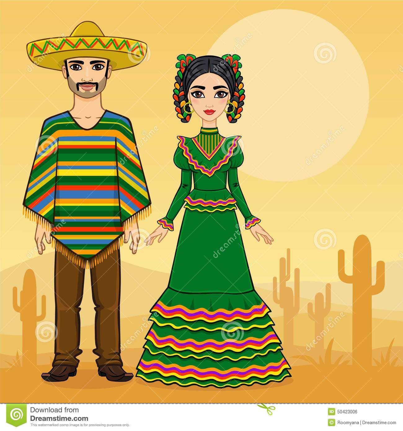 Mexican Family In Traditional Clothes