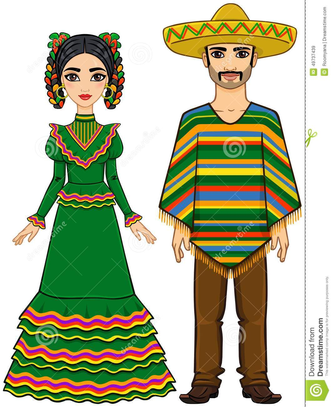 Mexican Family In Traditional Festive Clothes