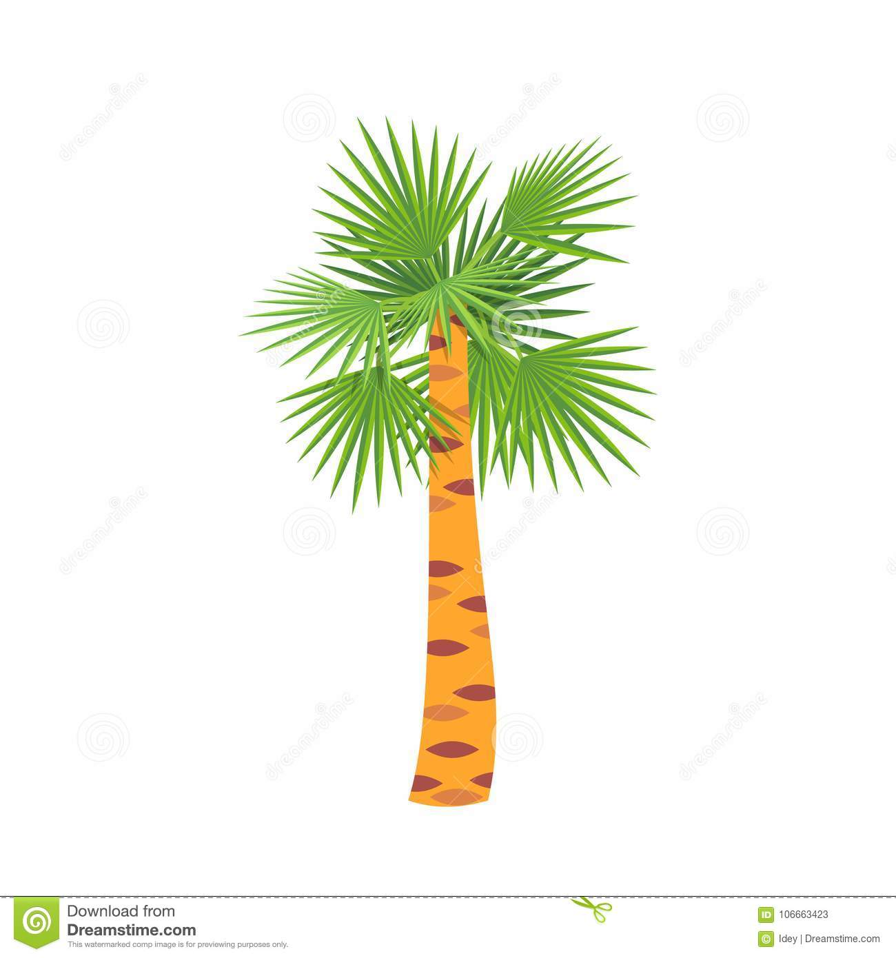Mexican Fan Palm Tree Symbol To Warm Country Holiday Stock Vector