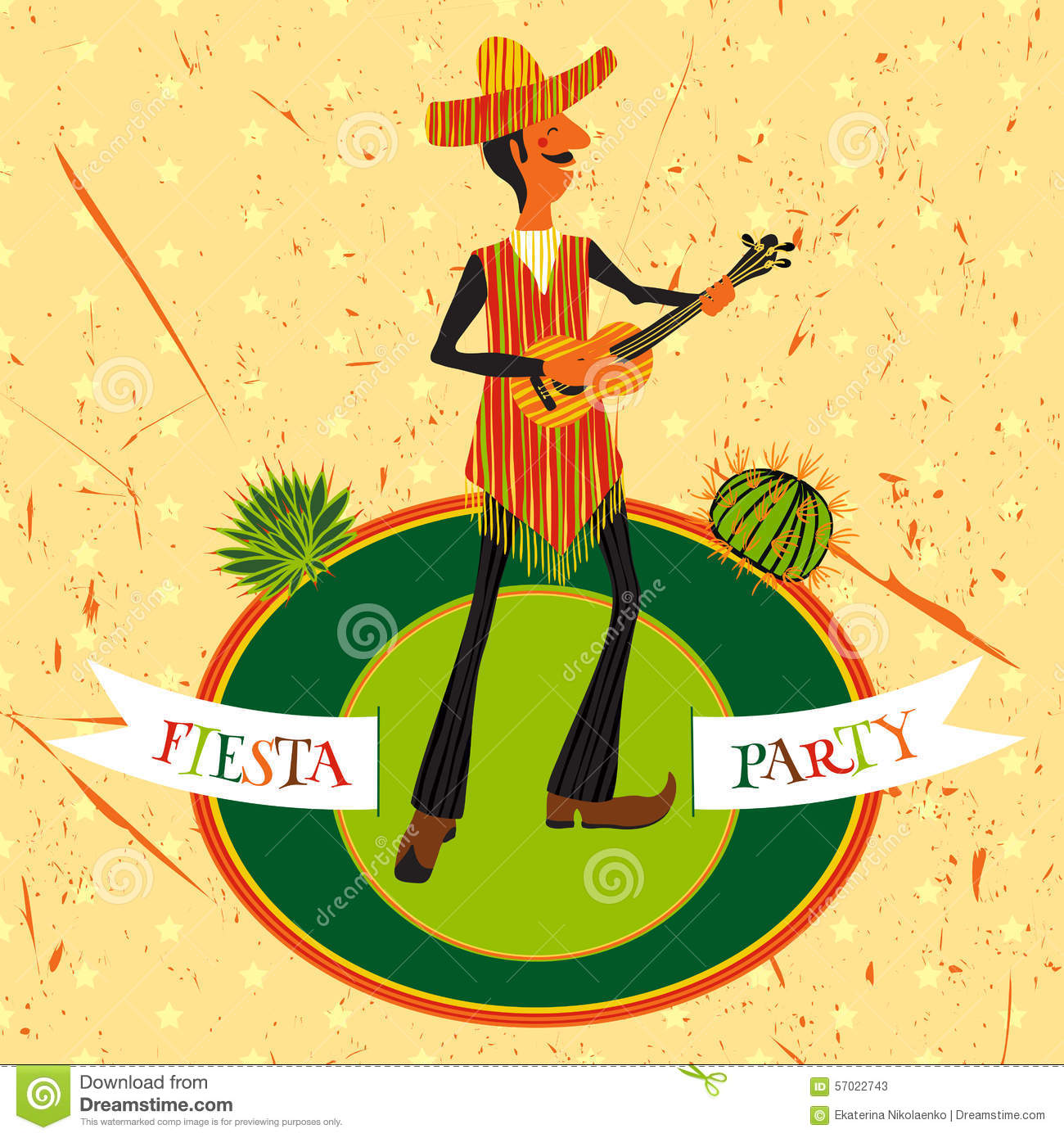 mexican fiesta party invitation with mexican man playing