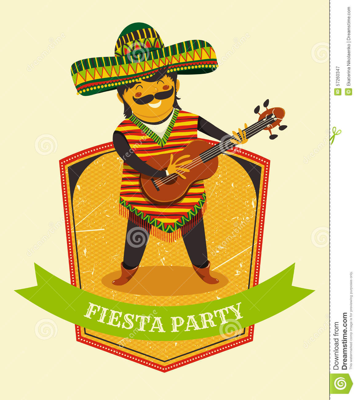 Mexican Fiesta Party Invitation With Mexican Man Playing ...