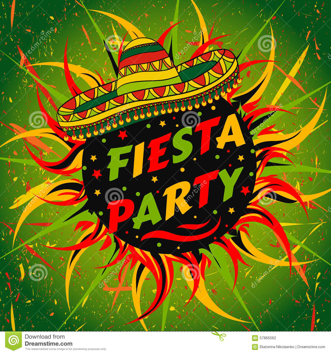 Mexican Fiesta Party Label With Sombrero And Confetti Hand Drawn Vector Illustration Poster Grunge Background