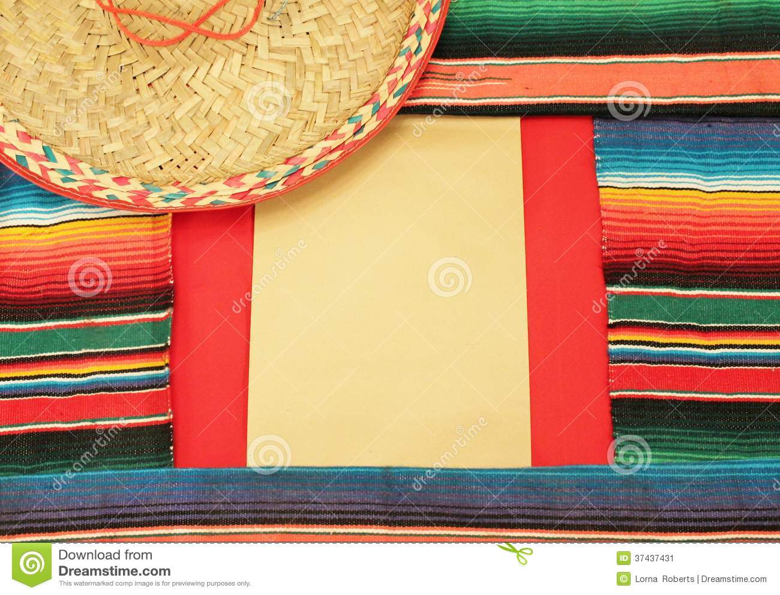 Mexican Fiesta Frame Poncho Sombrero Stock Image Image