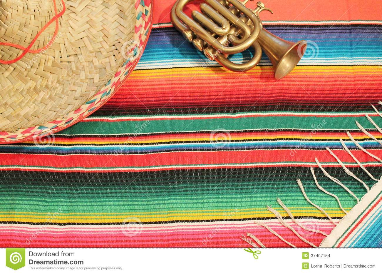 Mexican Fiesta Poncho Rug Bright Colors Sombrero Stock