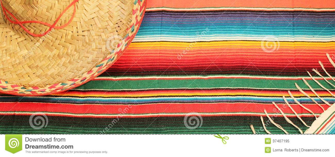 Traditional Mexican fiesta poncho rug in bright colors with sombrero    Zarape Clipart