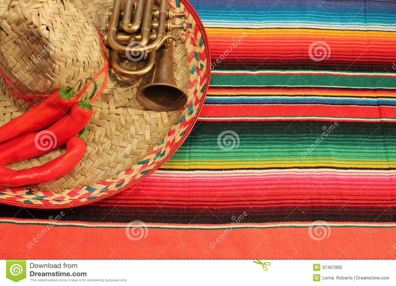 Mexico Fiesta Poncho Frame Sombrero Stock Image Image