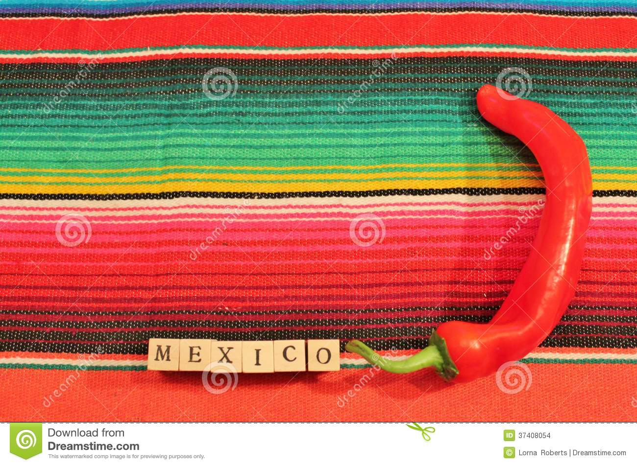 Mexican Fiesta Poncho Rug Word Chilli Text Frame Stock