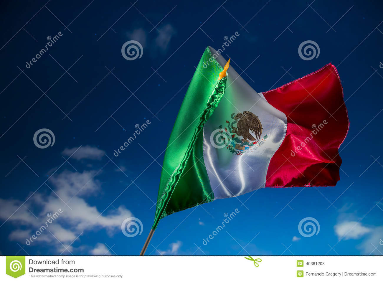 Mexican flag against a night sky, independence day, cinco de may