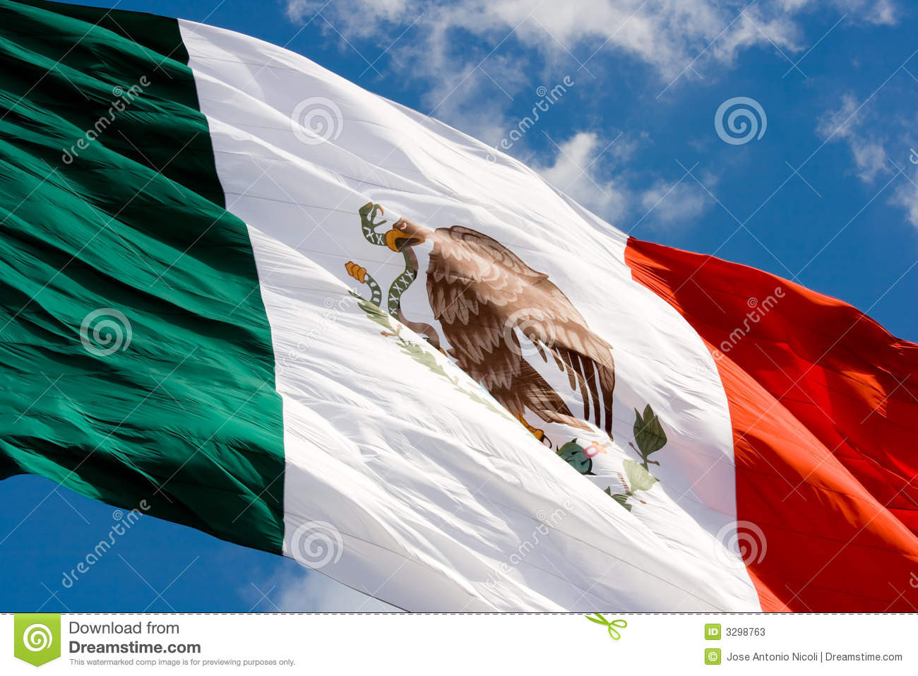 Mexican flag in blue sky