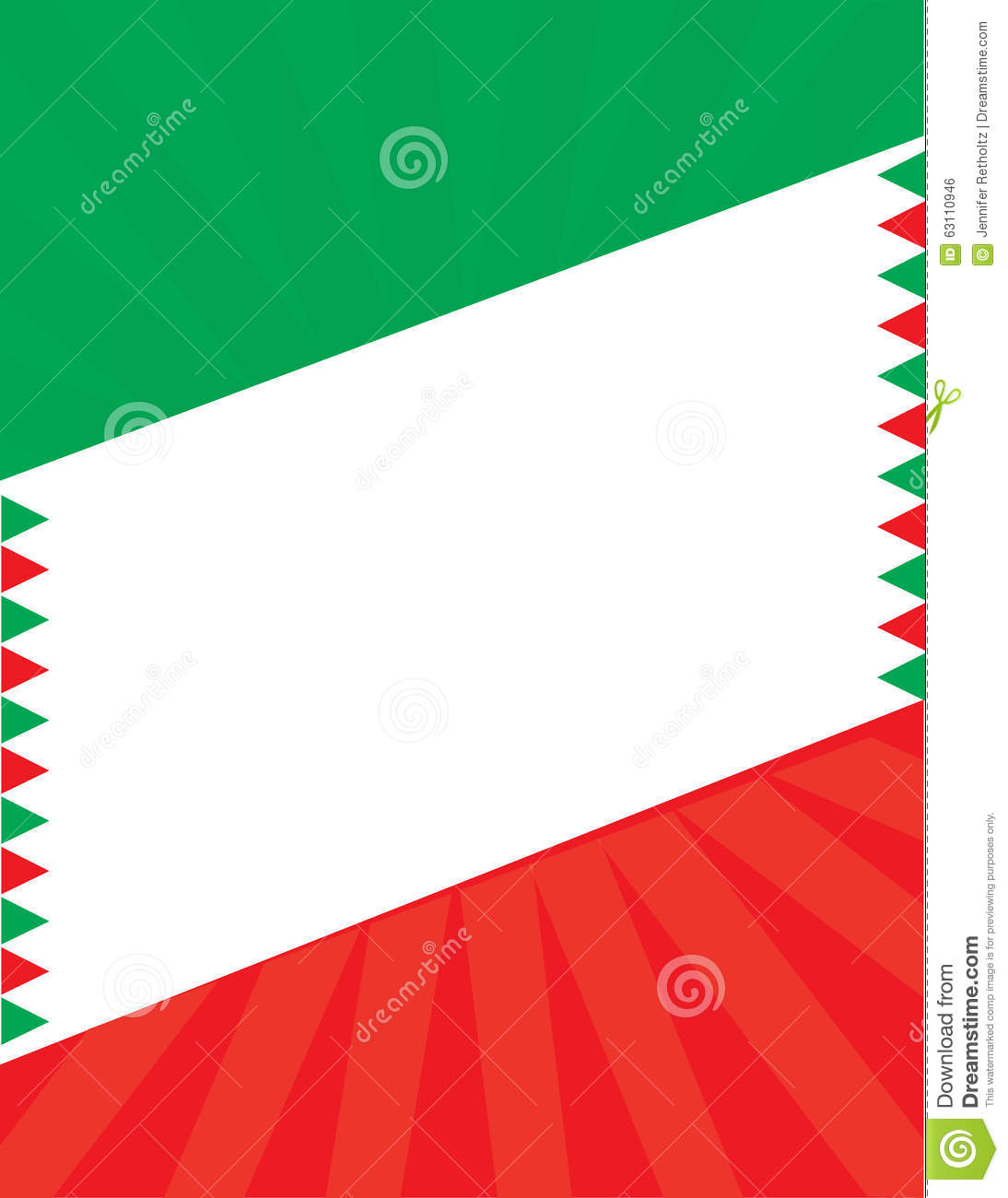 mexican flag border background template stock illustration image