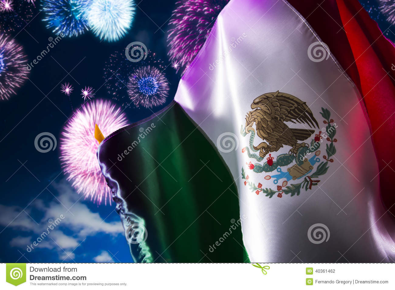 Mexican flag with fireworks, independence day, cinco de mayo celebration