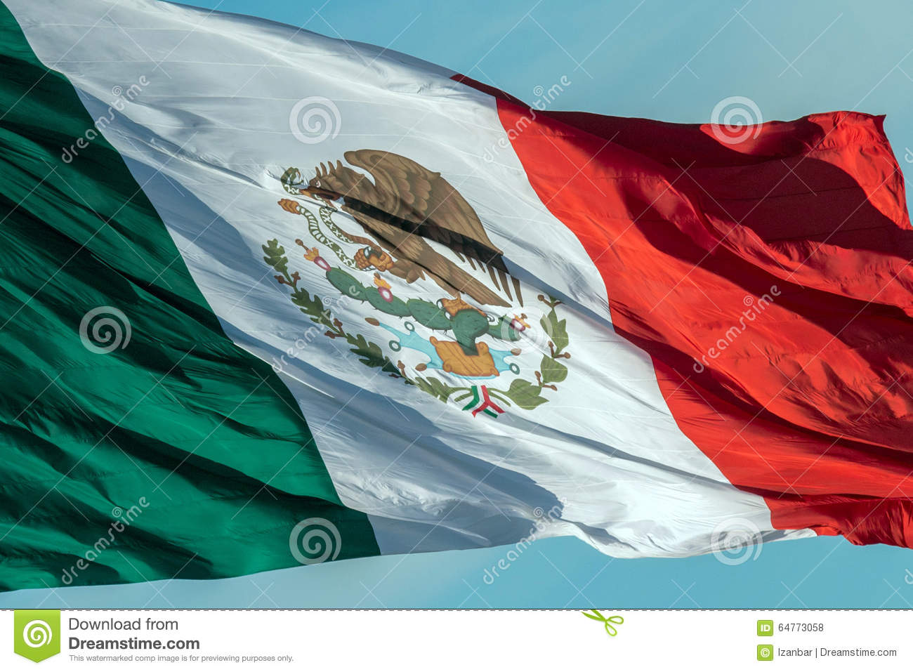 Mexican flag red white and green